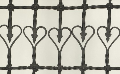 Window grille with heart motif