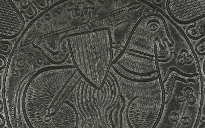 Moule à oublies ou à gaufres montrant un évêque bénissant et un chevalier